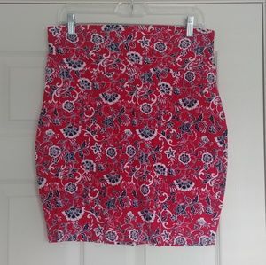 ❤ Red patterned pencil skirt